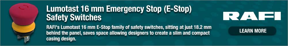 Lumotast 16 mm Emergency Stop (E-Stop) Safety Switches - RAFI